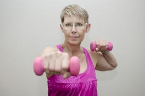 Sally instructing Weights class Women's Fitness Fun 50+